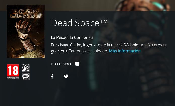 Dead Space gratis en Origin