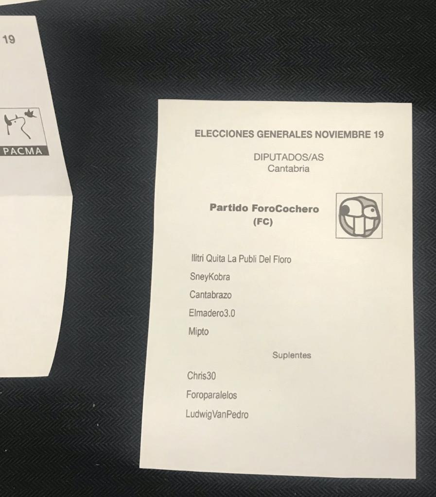 10N Forocoches papeleta voto