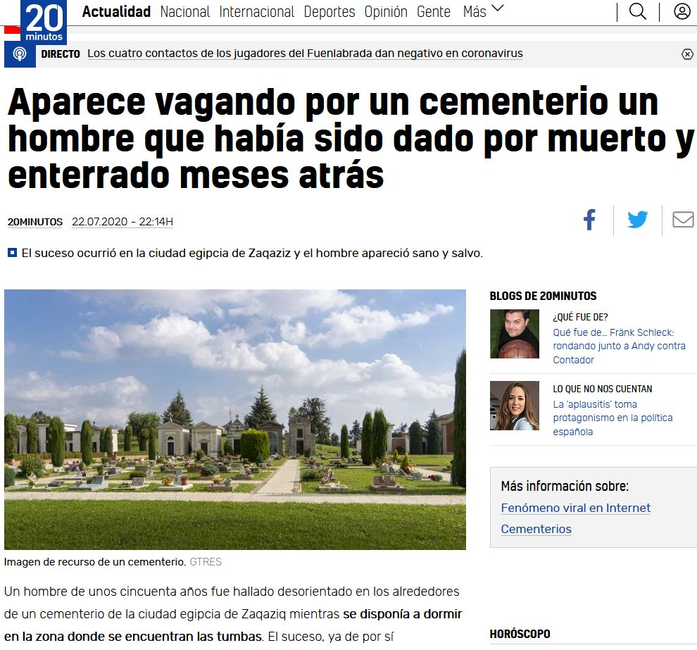 Hombre dado por muerto aparece deambulando en un cementerio