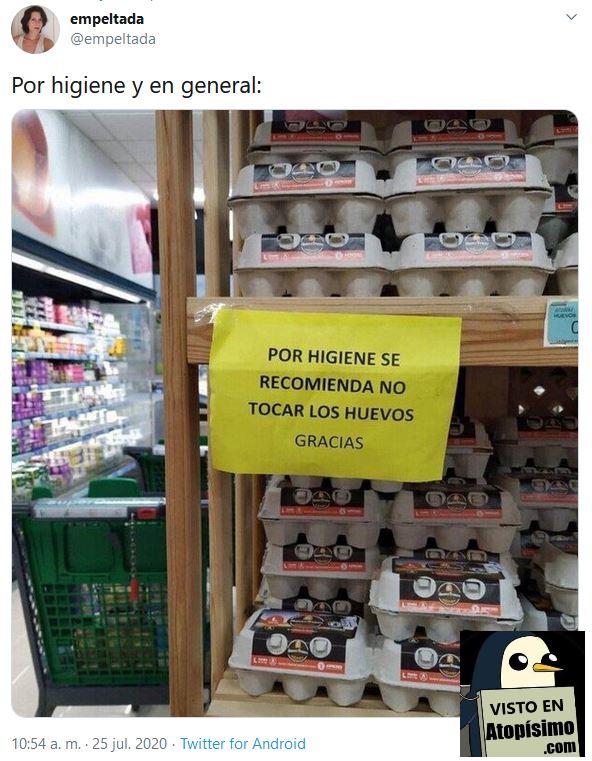 Cartel no tocar los huevos