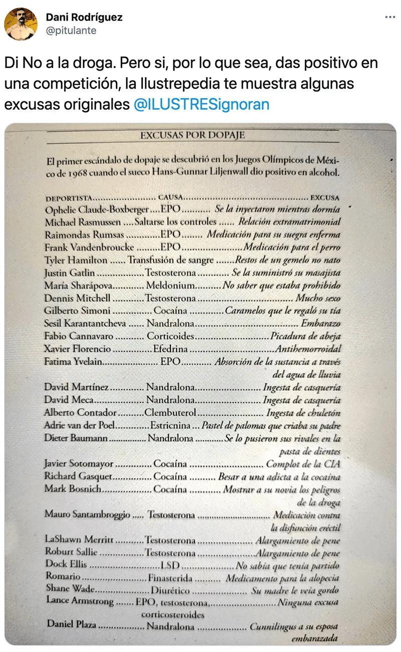 Lista de escusas de mierda