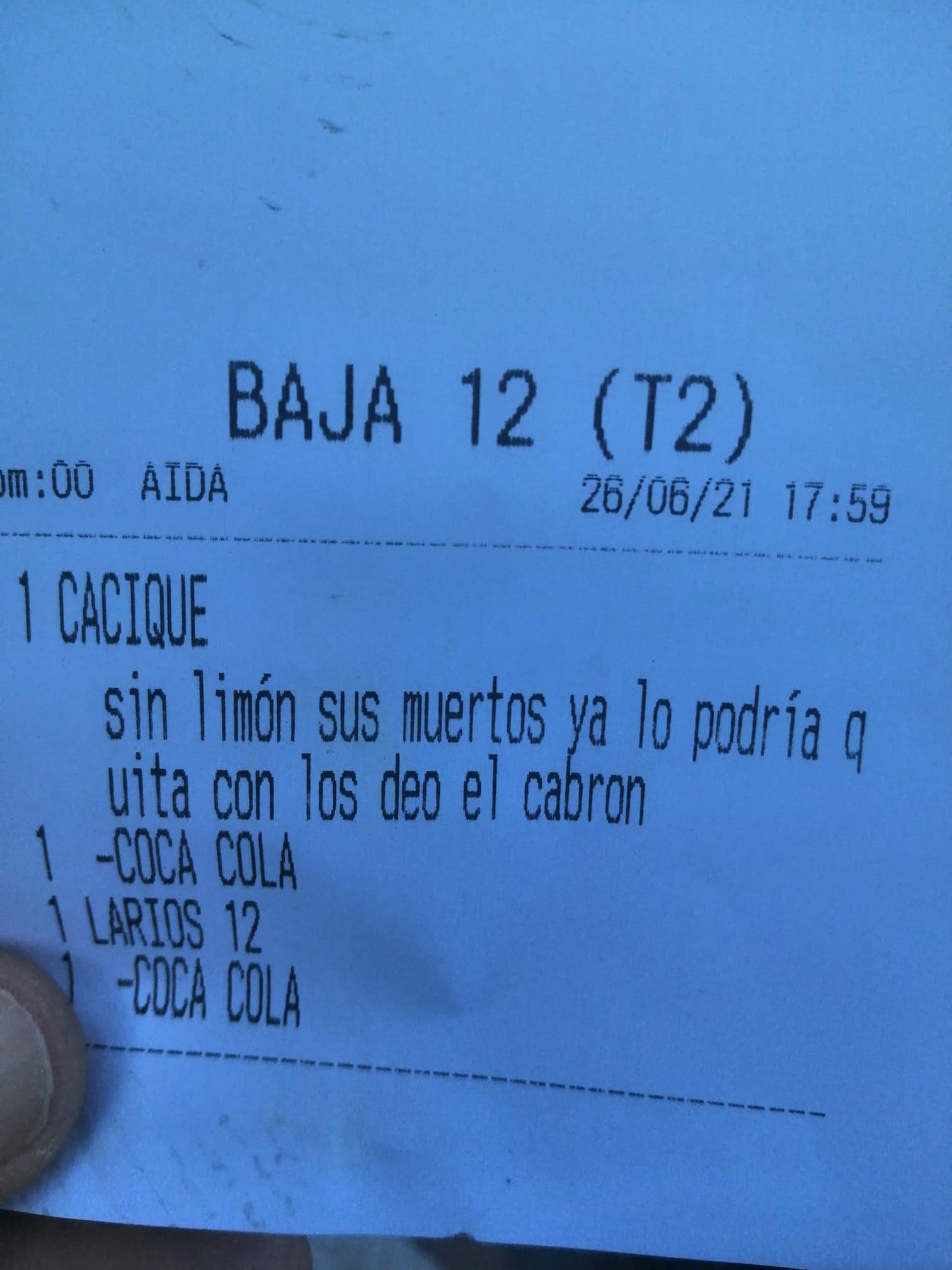 Ticket Limón Cádiz Dedos